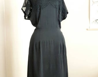 Rare Find Vintage 1930 Black Crepe Dress