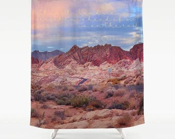 On the Road, Jack Kerouac Quote, Inspirational Shower Curtain, Desert, Boho Shower Curtain, Literary Gifts, Gifts for Her, Gifts for Him