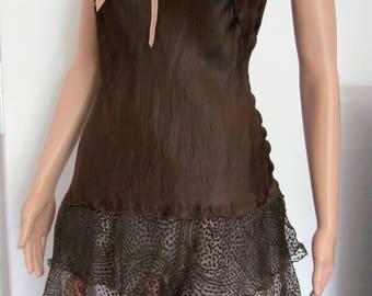 Romantic tunic silk and satin