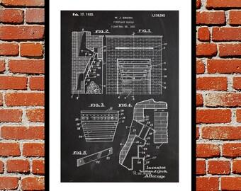 Fireplace Heater Patent, Fireplace Poster, Fireplace Blueprint,  Fireplace Print, Fireplace Art, Fireplace Decor