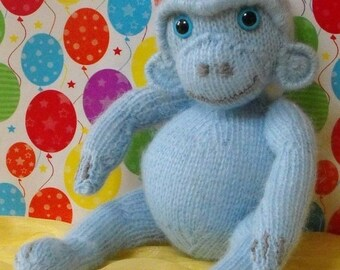 HALF PRICE SALE Digital pdf file knitting pattern - madmonkeyknits Nursery Blue Monkey toy animal knitting pattern pdf download