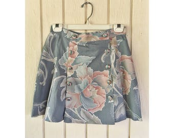 Tropical Short Skirt with Sailor Button Front Size Small