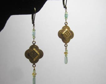 Peridot, Apatite and Citrine Brass Dangle Earrings