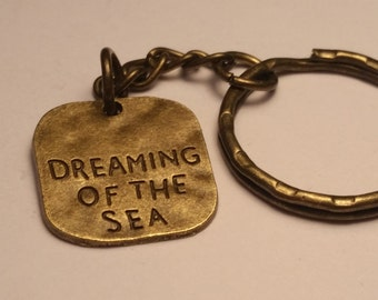 Dreaming of the Sea Key Ring, Sea, Ocean Gift, Keychain Gift, Accessories, Gift, Brass Keychain, Brass Gifts, Mens Gift, Beachy Gift