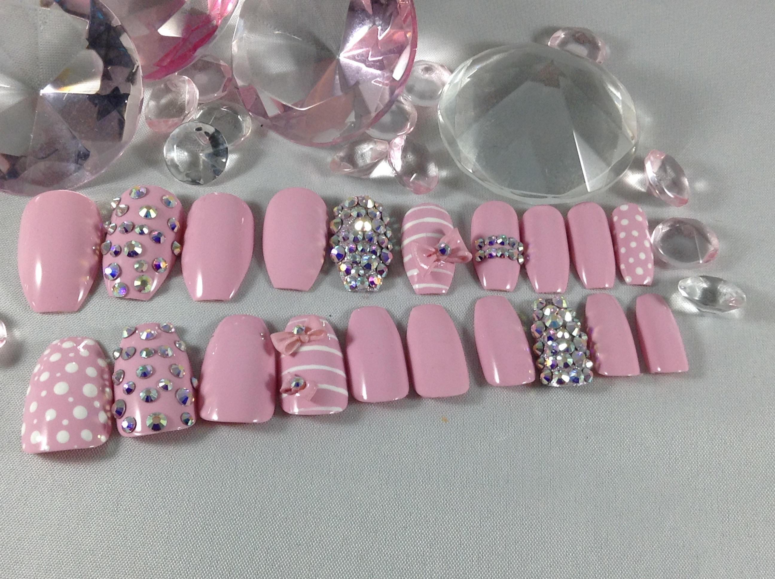 3d press on nails, fake nails, pink nails, birthday nails, prom ...