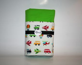 Transportation flannel baby blanket, airplane, cars, trucks, reversible blanket, baby shower gift, baby blanket, ready to ship