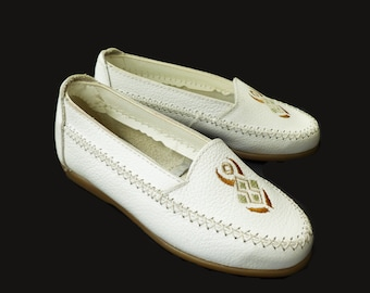 Vintage NOS 70s White Leather Flat Shoes Made in France EU 28