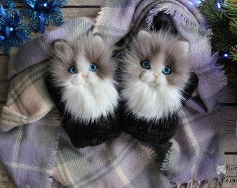 Catmittens/ cat mittens handmade Kitten Mittens, Crochet Mittens The Cat,Hand Crocheted Mittens white Gloves animals warm mittens with fur