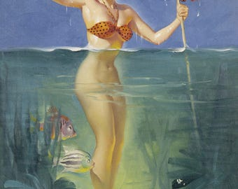Pin Up Girl Art Print Reproduction, surprising catch 1952 by Gil Elvgren