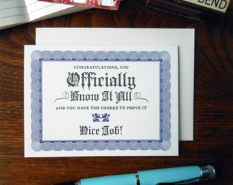 letterpress know it all certificate greeting card graduation dipolma card navy & black on soft white paper
