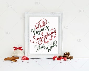 While Visions of Sugarplums Danced in Their Heads PRINTABLE - holiday art / Christmas / Twas the night before Christmas / Christmas Print