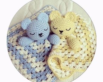 PDF PATTERN ONLY Cute Teddy Snuggle Crochet Comfort Blanket Baby Children Toy Blanket