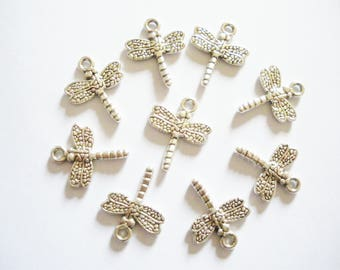 10 antique silver style Dragonfly charms