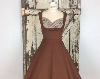 Vintage Inspired 1950s Style Lindy Bop Brown and Baige Bombshell Full Dress Small