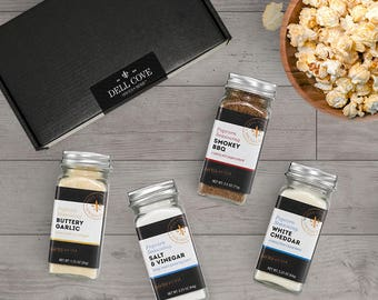 Savory Popcorn Seasoning Gift Set Featuring Buttery Garlic, Salt and Vinegar, Smokey BBQ & White Cheddar Seasonings for Savory Snacks