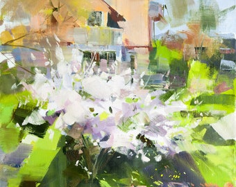 Springtime Abstract Modern Painting, Abstract Landscape Painting Canvas Original Oil Contemporary Landscape Art Plein Air Artwork Nature