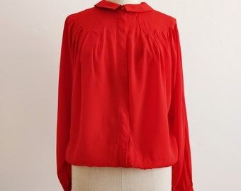 80s red silk batwing blouse