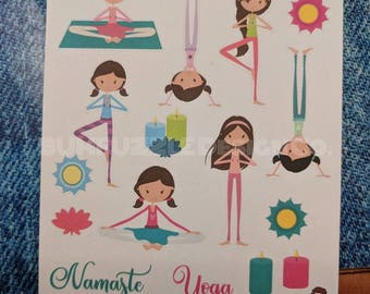 YOGA CPs | Coordinating Pages | Deco Full and Half Boxes Word Art Classes Sampler | Planner Scrapbooking Stickers
