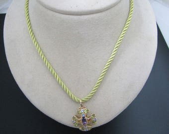 a474 14k Yellow Gold Pendant with Amethyst, Peridot and Aquamarine