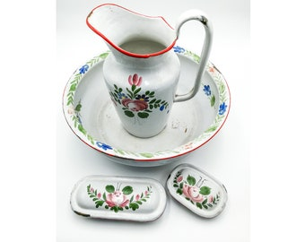 Antique French enameled toilet set body pitcher water basin and boxes hand painted roses & flowers signed BB Austria early 1900's