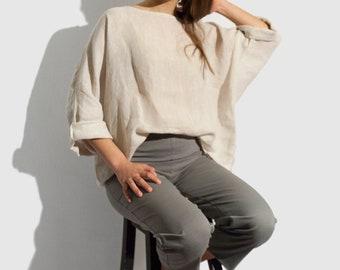 linen top. oversized linen top. beige light linen top