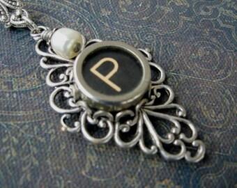 Typewriter Key Jewelry - Typewriter Necklace Letter P