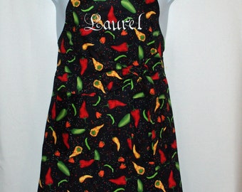 Hot Chili Peppers Apron, Personalized With Name, Cinque de Mayo, For Hubby, Wife, Girlfriend, No Shipping Fee, Ready To Ship TODAY, AGFT 662