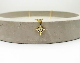 starburst charm necklace, celestial necklace, north star necklace, delicate necklace, cz starburst, dainty starburst, 14k gold filled chain