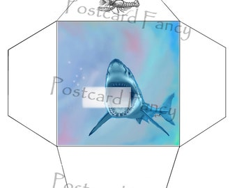 SCARY Shark Illustration, Printable ENVELOPE Template, Instant DIGITAL Download