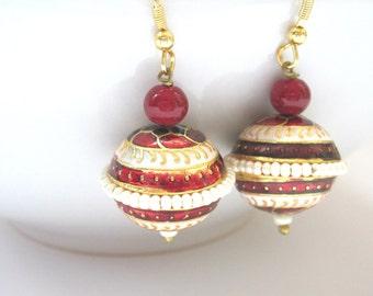 Red And White Enamel Jaipur Earrings