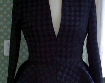 CUSTOM MADE Worn by Kate Middleton  Alexander Mcqueen inspired notch collar houndstooth black jacket