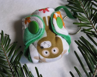 """Fitted Cloth Diaper Keychain Forest print diaper 2"""" mini fitted Diaper with insert!  Key chain diaper ornament, baby diaper key fob"""
