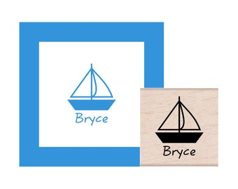 Sailboat Personalized Rubber Stamp