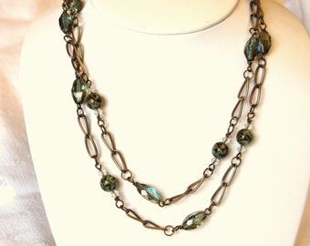 Blue Speckled Czech eggs necklace