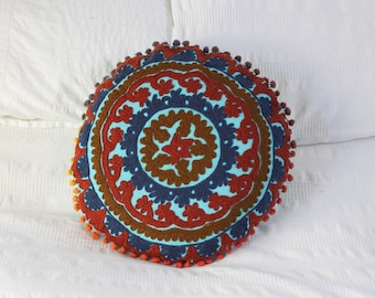 Indian Cushion Cover Suzani Embroidered Round Hippy Cushion Cover