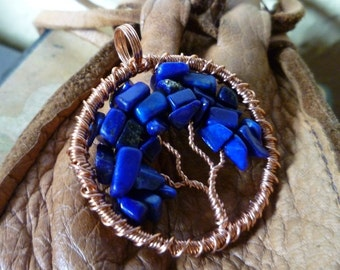 Tree of Life Pendant - Lapis with Copper Wire