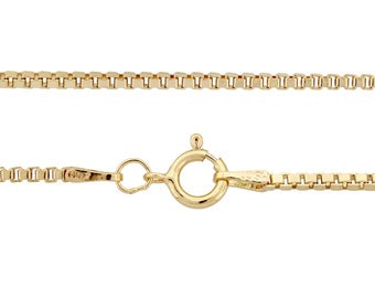 14kt Gold Filled 1.5mm 20 Inch Box chain with spring ring clasp - 1pc Finished Box Chain Great Quality USA made (3374)/1