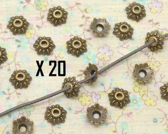 20 x Cap Cup flower metal bronze 8mm