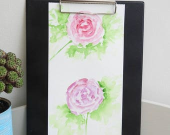 Original watercolor painting pink