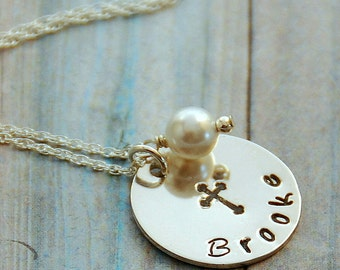 First Communion Necklace - Religious Necklace - Baptism Necklace - Personalized Jewelry - Hand Stamped Jewelry - Name Jewelry - Birthstone