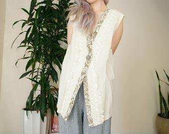 Rose Long Vest / Scallop Laced Cream Vest / Long Cotton Vest /Large Vest