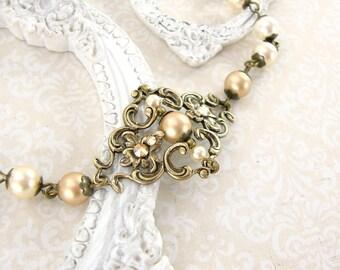 Vintage Style Gold Autumn Wedding Jewelry - Swarovski Crystal Gold Pearl Jewelry - Antique Brass Bracelet Rustic Victorian Wedding