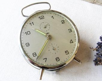 Vintage Alarm Clock Prim Working Retro Clock Czechoslovakia Old Clock Mechanical Retro Home Decor Table Clock  Collectible Clock