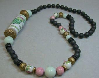 Vintage Black Crystal Bead Knotted Necklace ,Pink Rhodonite, Aqua Amazonite Bead ,Vintage Chinese Porcelain,Vintage Brass Tea Strainer beads