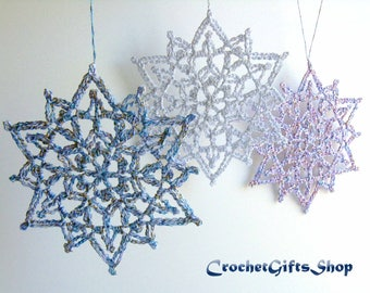 Christmas Snowflake Crochet PATTERNS Ornaments PDF Pattern Instant Download Lace snowflakes Decoration Home Decor
