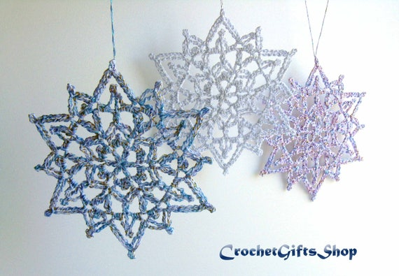 Christmas Snowflake Crochet PATTERNS Ornaments PDF Pattern