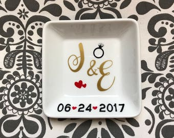 Initial ring dish with date - engagement gift -wedding present