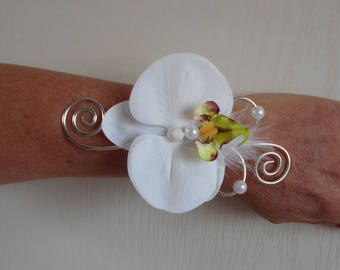 Flowers for bride or witness - white and silver bracelet