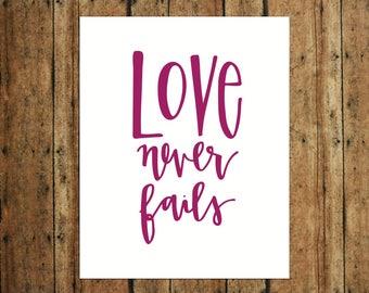 Love Never Fails | Digital Print | Calligraphy | Purple