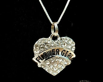 Sterling silver flower girl necklace, flower girl gift, flower girl gift ideas, wedding gift, bridal party gift, wedding necklace